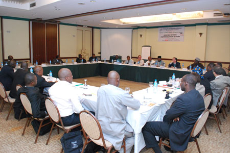 Participants discuss Nigerian constitutional reform at a Forum roundtable in July 2009.