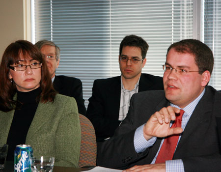Dr. Henrik Scheller explained German fiscal reform at a luncheon address at the Forum Office, From right: Isa Gros-Louis, Privy Council Office; Harley Trudeau, Yukon Government Office in Ottawa; Prof. Jean-Francois Tremblay, Université d'Ottawa; Dr. Henrik Scheller, Bertlesmann Foundation, Germany.