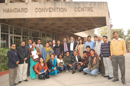 Participants in a course on India's federal system of government gather at Hamdard University in New Delhi.