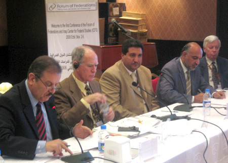 Photo: Academics, federalism experts, meet in Erbil to found federalism organization. Seated from the left are Dr. Idris Hadi Saleh, Minister of Higher Education of Kurdistan Regional Government; Dr. David Cameron, Forum of Federations; Dr. Hadi Husain Ali, Law professor at Babil University; Dr. Mohammad al Saraj, Director of Research at Ministry of Higher Education in Baghdad; Dr. John Kincaid, Director of Meyner Center, Pennsylvania USA.