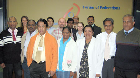 Sri Lankan study tour participants at the Forum of Federations offices in June 2007.