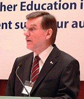 Robert Lacroix, Former Rector, Université de Montréal, gives   opening remarks on Jan. 15.