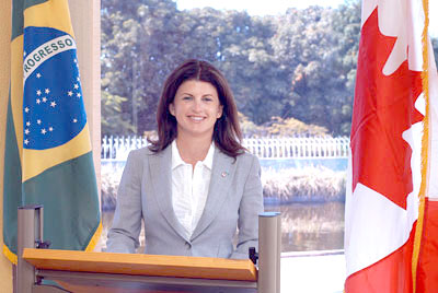 Canada's Minister of Intergovernmental Affairs, Rona Ambrose, speaks to a roundable on federalism in Brasilia on July 17, 2007.