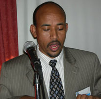 Photo: Ethiopia's Minister of Federal Affairs, H.E. Siraj Figessa, addresses workshop participants.