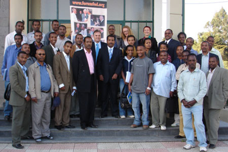 The inaugural class of students and teaching staff of the Masters in Federal Studies program gather in front of the new Institute of Federalism at Addis Ababa University. At the centre is Shawn Houlihan, the Forum's Director for Africa.