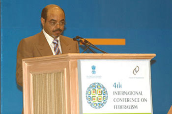 Photo: Ethiopian prime minister Meles Zenawi addresses participants at the Fourth International Conference on Federalism held in New Delhi in November 2007.