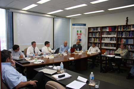 "Photo: Experts come together in Ottawa at the Forum's HQ to develop a program on ""Public Security in Federal Systems""."