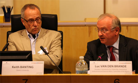 Keith Banting (Queen's University) and Luc Van de Brande (Committee of the Regions) participate in the closing panel discussion of an immigrant integration conference held in Brussels on November 29 and 30, 2010.