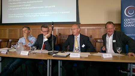 (R-L) Neil Walker, University of Edinburgh, Stephen Tierney, University of Edinburgh, Adam Tomkins, University of Glasgow and Richard Wyn Jones, University of Cardiff discuss federalism in the UK.