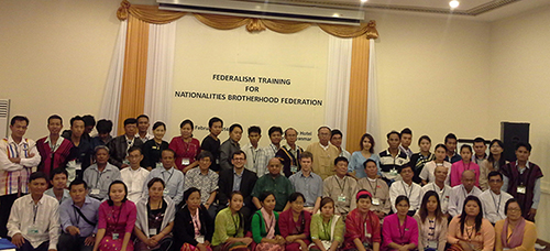 Members of the Federalism training workshop held in Yangon (Burma).