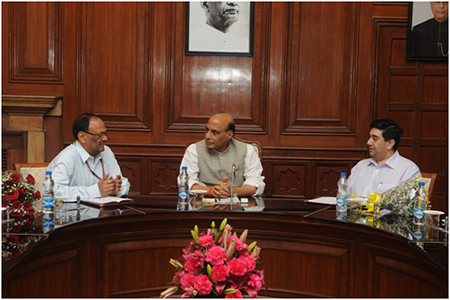 (L-R): Secretary of the Inter State Council (ISCS) H.K. Dash; Home Minister Rajnath Singh; Rupak Chattopadhyay, President and CEO of the Forum of Federations.