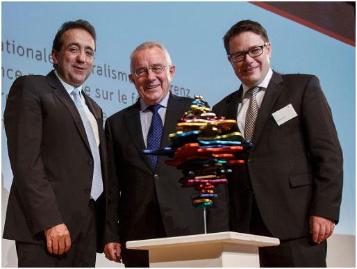 (L-R) Pascal Broulis, Arnold Koller, Benedikt Würth, President of the Fondation ch pour la collaboration confédérale