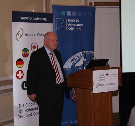 Dr. Georg Milbradt above presenting to  representatives from the political, academic and diplomatic field on Feb 9-12, 2014.
