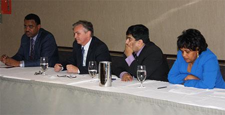 (Far Left) His Excellency Kassa Tekeleberihan Gebrehiwot, Speaker of the House of the Federation speaks in Ottawa.