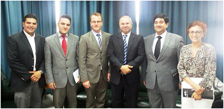 (L-R) Mr. Mehdi Mejdoub, Forum Consultant, Mr. Bouraoui, in charge with international cooperation at Interior Ministry, Ambassador Sébastien Beaulieu, Mr. Abderrazek Ben Khelifa, Secretary of State for Local Authorities, Mr. Rupak Chattopadhyay, President and CEO, Forum of Federations and Ms. Leila Houaoui, Forum Senior Advisor.