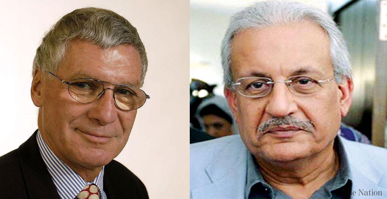 (L-R) Thomas Pfisterer of Switzerland and Senator Raza Rabbani of Pakistan