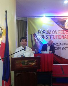 Senator Aquilino Koko Pimentel III, Senate President, Republic of the Philippines opens the Forum on Federalism and Constitutional Reform
