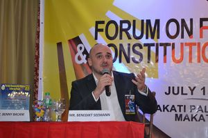 Mr. Benedikt Seemann, Country Representative of KAS Philippines presenting on German federal best practice.