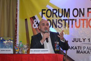 Mr. Benedikt Seemann, Country Representative of KAS Philippines presenting on German federal best practice.