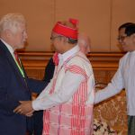 (L-R) Bob Rae, Forum Fellow, meeting with Mahn Win Khaing Than, the Speaker of the House of Nationalities, to discuss Federalism