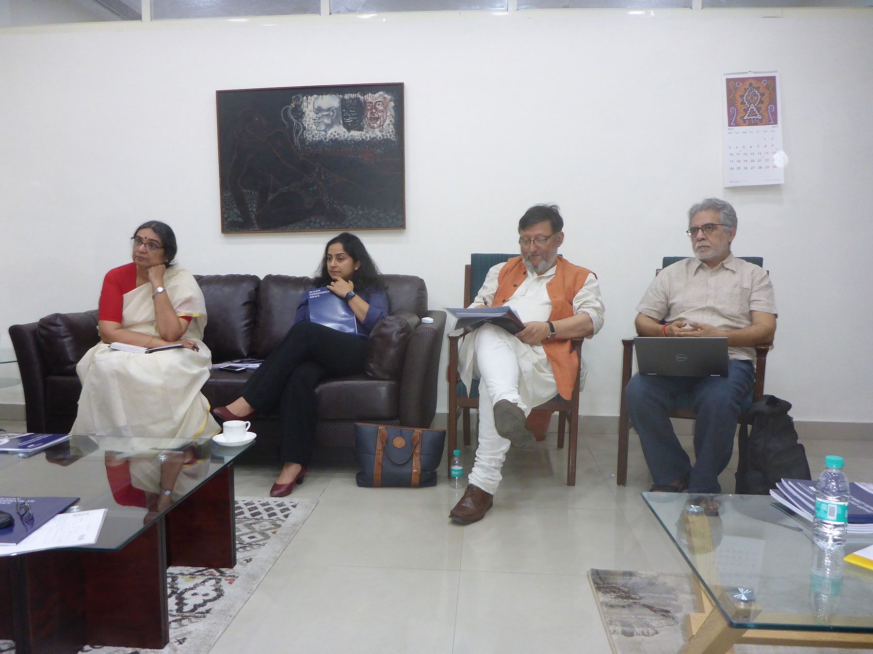 Rajani Vaid, Shamika Ravi (Senior Fellow, Brookings India), Shakti Sinha (Director NMML), Subhash Mishra (Regional Evaluation Specialist UNICEF)
