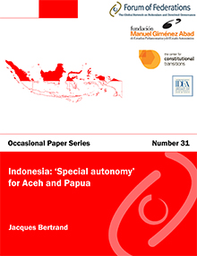 Indonesia: 'Special autonomy' for Aceh and Papua:  Number 31 Cover